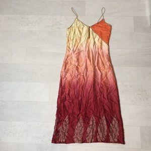 Anthropologie Dress Sz 4 Silk Orange Yellow Boho